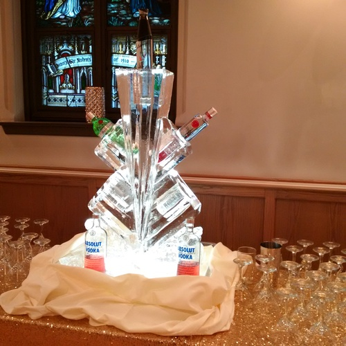 Multiple Tier Bottle Holder Ice Sculpture by Festive Ice Sculptures