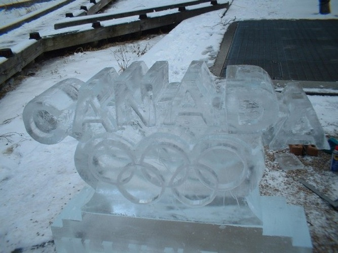 Canada Olympic Rings Ice Sculpture by Festive Ice Sculptures