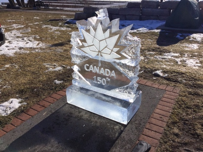 Canada 150 Ice Logo Sculpture by Festive Ice Sculptures