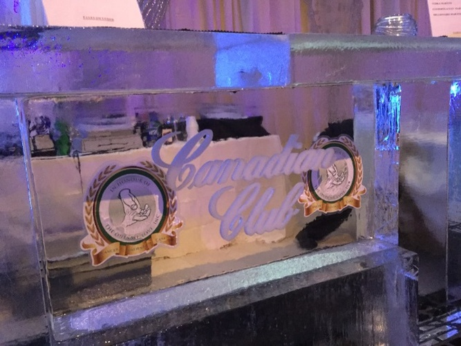 Custom Corporate Logo Ice Bar Sculpture by Festive Ice Sculptures
