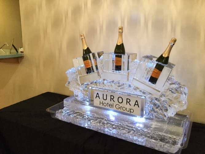 Best Corporate Ice Logos for Aurora Hotel Group by Festive Ice Sculptures