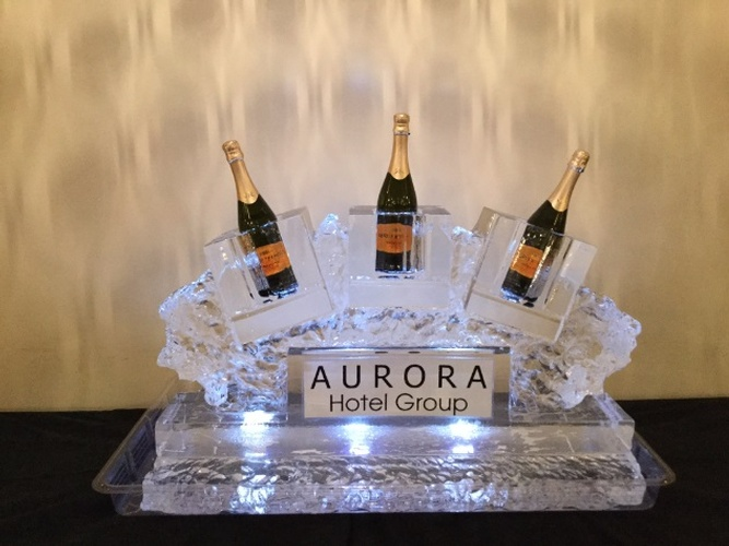 Corporate Ice Logo by Festive Ice Sculptures in London