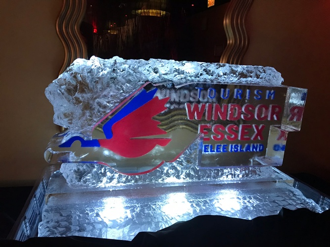 Windsor Essex Tourism Logo by Festive Ice Sculptures - COVID 19 Ice Sculptures Windsor
