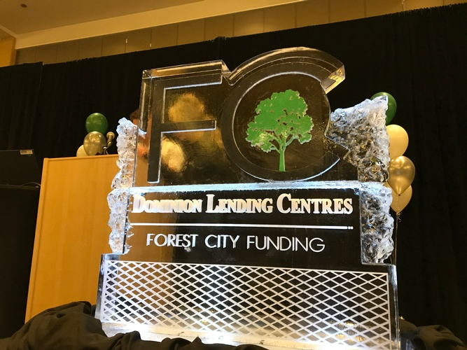 Dominion Lending Forest City Logo - COVID 19 Ice Sculptures London