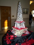 Eiffel Tower Ice Sculpture with Rose Petals by Festive Ice Sculptures