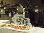 Corporate Ice Logo Sculpture Food Display by Festive Ice Sculptures