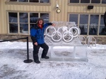 Outdoor Olympic Rings Ice Sculpture by Festive Ice Sculptures