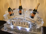 Corporate Ice Logo Sculpture for Aurora Hotel Group by Festive Ice Sculptures