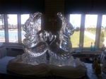 Love Swan Ice Sculpture - Wedding Table Centerpiece by Festive Ice Sculptures