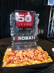 Rosati Logo Design on a Festive Ice Sculptures for a COVID 19 Party