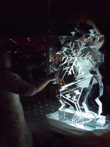Snowflake Ice Luge Oakville Ontario by Festive Ice Sculptures