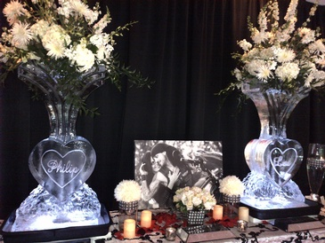 Ice Sculpture Flower Vases by  Festive Ice Sculptures