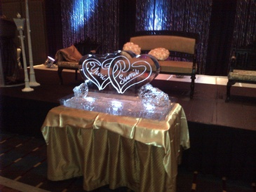 Double Hearts Wedding Ice Sculpture Oakville by Festive Ice Sculptures