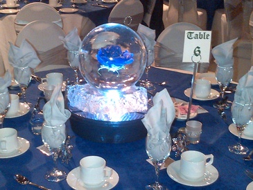 Ice sculpture globe with Blue Flower frozen inside