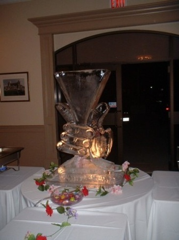 Wine Glass Ice Sculpture Centerpiece by Festive Ice Sculptures