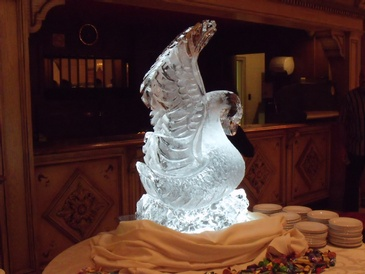 Swan Ice Sculpture Centerpiece by Festive Ice Sculptures