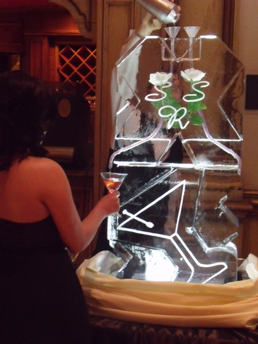 Martini Ice Luge for Wedding by Festive Ice Sculptures