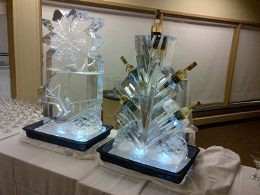 Ice Bottle Holder Sculpture and Ice Luge on the Table