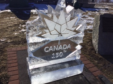 Canada 150 Corporate Ice Logo Sculpture by Festive Ice Sculptures