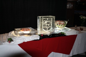 Corporate Ice Logo Food Display by Festive Ice Sculptures