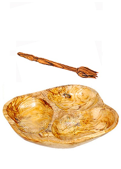 Three Section Olive or Tapas Dish with Fork-Olive Wood