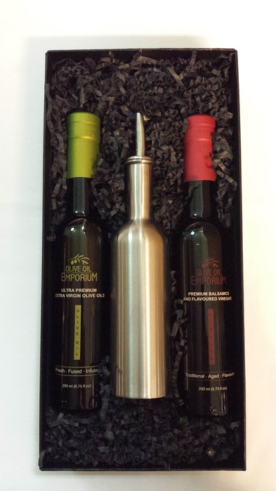 Oil and Vinegar Gift Set with Stainless Steel Dispenser