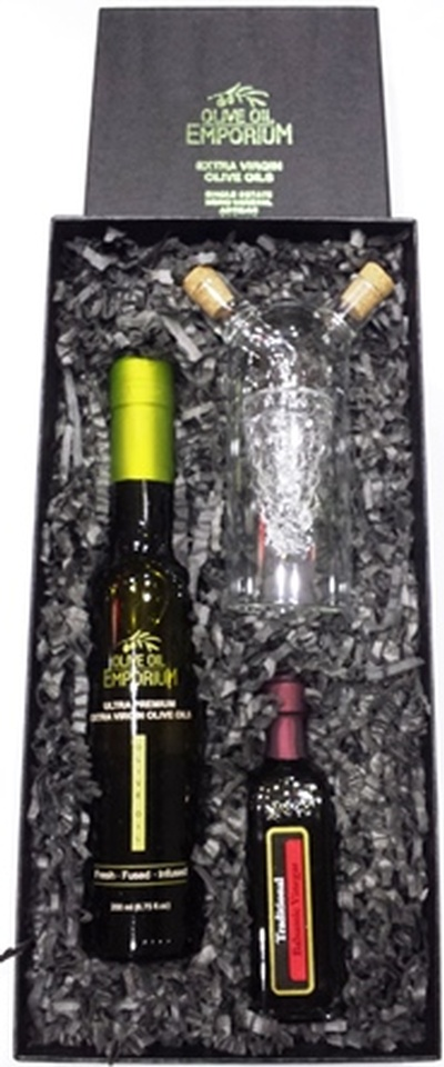 Gourmet Gift Set-Varietal Olive Oil and Balsamic Vinegar with Glass Cruet