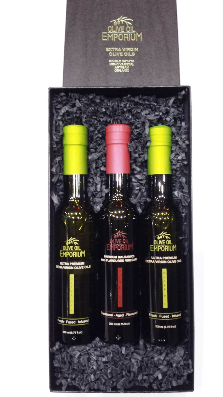 Gourmet Gift Trio - Varietal Olive Oil, Flavoured Olive Oil and Balsamic Vinegar Gift Set