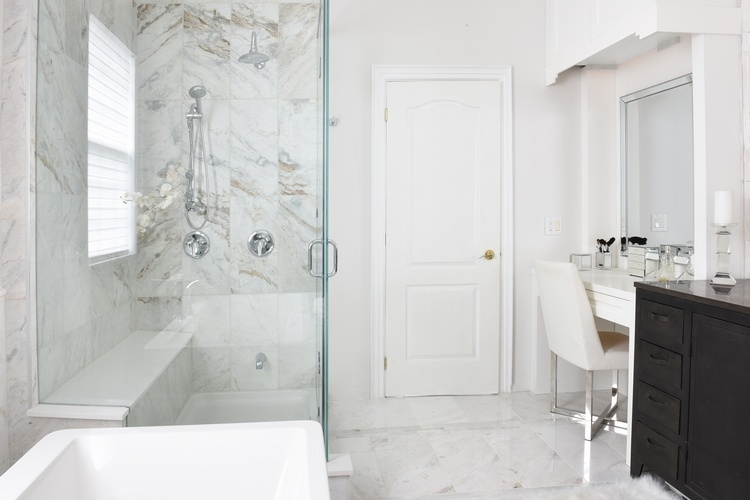 Modern White Bathroom Renovations in Markham by Royal Interior Design Ltd