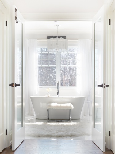 Luxury Master Bathroom With Chandelier Over Tub - Bathroom Renovation Stouffville by Royal Interior Design Ltd