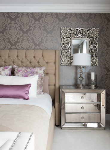Silver Dresser near Queen Size Bed - Bedroom Renovation Services Aurora by Royal Interior Design Ltd