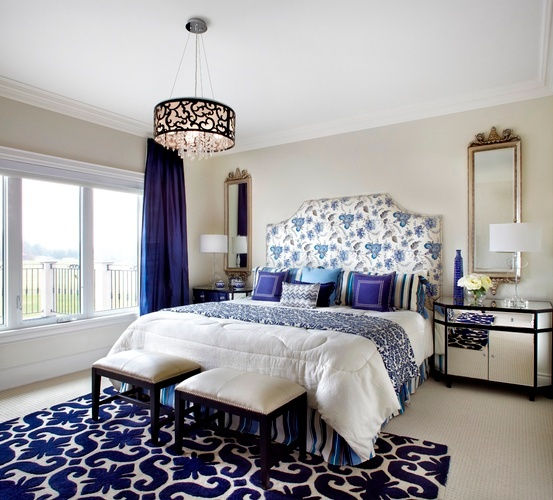 Navy Dream Bedroom Renovations by Interior Designer Whitby at Royal Interior Design Ltd