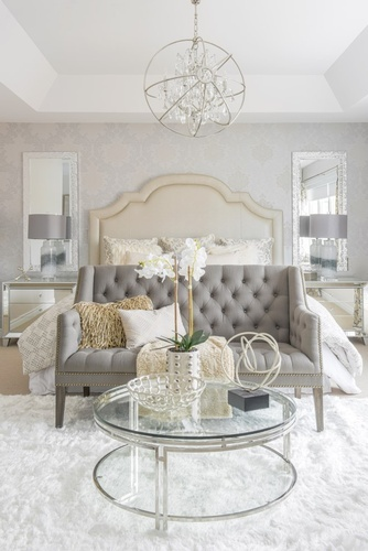 Bed End Couch with Glass Coffee Table - Bedroom Renovation in Markham by Royal Interior Design Ltd