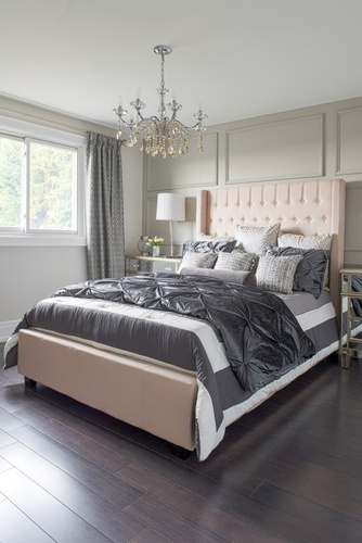 King Size Bed with Throw Pillows - Bedroom Renovation in Vaughan by Royal Interior Design Ltd