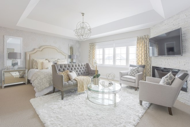SIlver And Gold Themed Bedroom Design - Stouffville Bedroom Renovations by Royal Interior Design Ltd