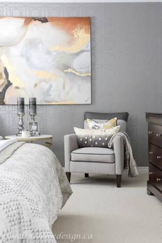 Grey Accent Chair with Throw Pillows - Bedroom Renovations Richmond Hill by Royal Interior Design Inc