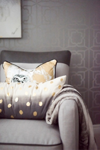 Owl Throw Pillow on Accent Chair - Bedroom Decor King City by Royal Interior Design Inc
