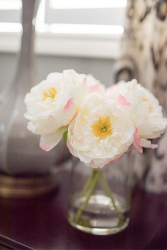 Peony Flowers in Clear Glass Vase - Bedroom Renovation Service Stouffville by Royal Interior Design Inc