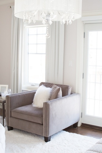 Grey Accent Chair with Throw Pillows - Markham Bedroom Decor by Royal Interior Design Ltd