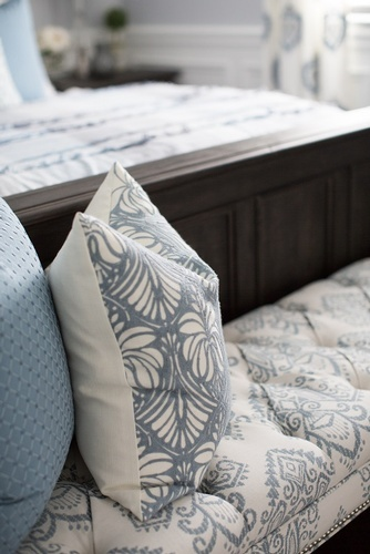 Printed Throw Pillows on End Bench - Bedroom Decoration Service Aurora by Royal Interior Design Ltd