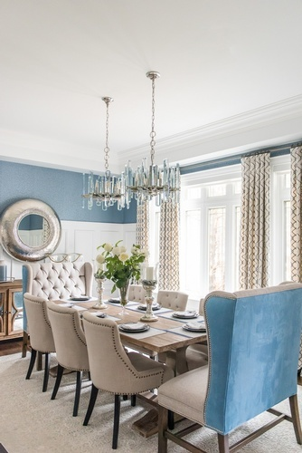 Modern Glass Chandelier over Dining Table - Dining Room Design Richmond Hill by Royal Interior Design Ltd