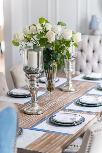Roses in Glass Vase - Dining Room Decor Newmarket ON by Royal Interior Design Ltd