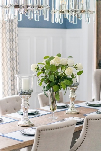 White Rose Flowers on Dining Table - Dining Room Design Thornhill by Royal Interior Design Ltd
