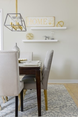 Decorative  Accents on Wall Shelf - Dining Room Design Richmond Hill by Royal Interior Design Ltd