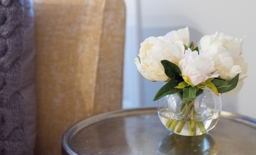 Garden Flowers in Glass Vase - Dining Room Decor Richmond Hill by Royal Interior Design Ltd
