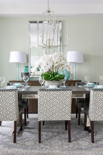 Metal Chandelier over DIning Table - Dining Room Renovations Newmarket ON by Royal Interior Design Ltd