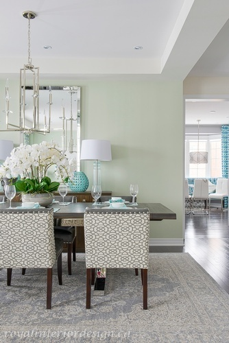 Turquoise and Green Dining Room Renovations Whitby by Royal Interior Design Ltd