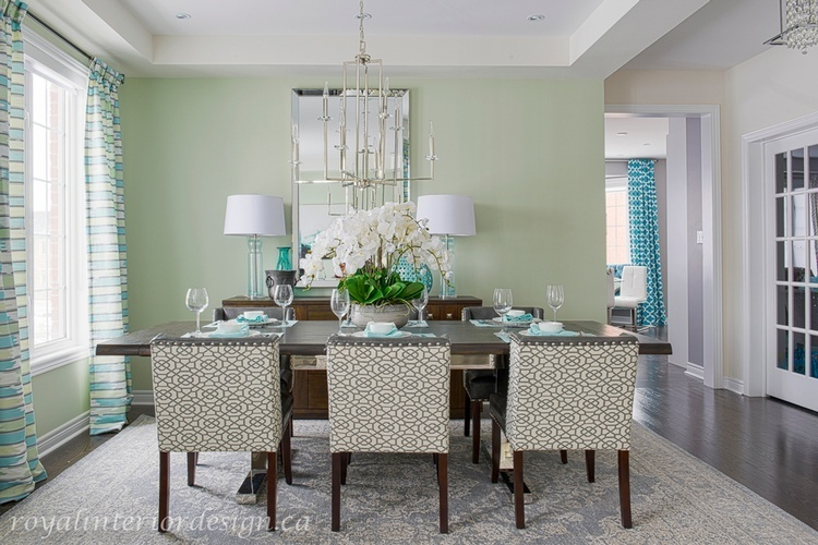 Turquoise Dining Room Renovations Newmarket by Royal Interior Design Ltd
