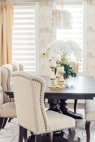 Flower Vase and Candle Holders on Dining Table - Dining Room Decor GTA by Royal Interior Design Ltd