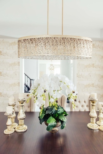 Hanging Gold Chandelier - Richmond Hill Dining Room Design by Royal Interior Design Ltd